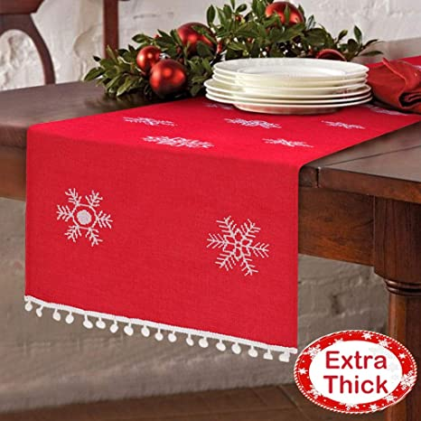 Christmas Table Runner To Make.Aytai 16 X 72 Inch Christmas Table Runner Embroidered Table Runner Red Table Linens For Christmas Decorations
