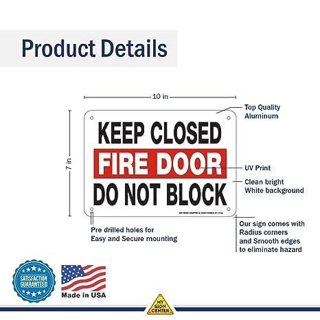 Amazon.com: Señal para puerta de fuego con texto en inglés ...