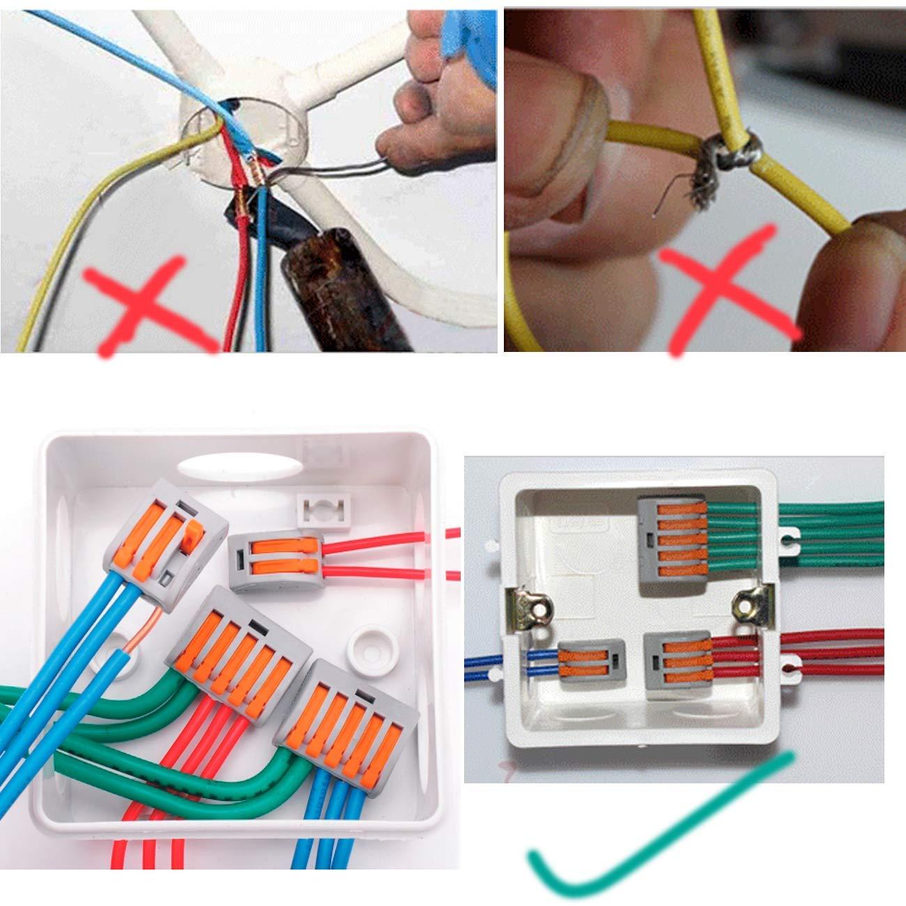 Bornes de Connexion Automatique Assortiment Rapide teur Electrique Levier C/âble Connecteurs 2 Trous*30//3 Trous*20//5 Trous*10 Alled 60pcs Connecteurs de Fils Compacts C/âblage Branchement