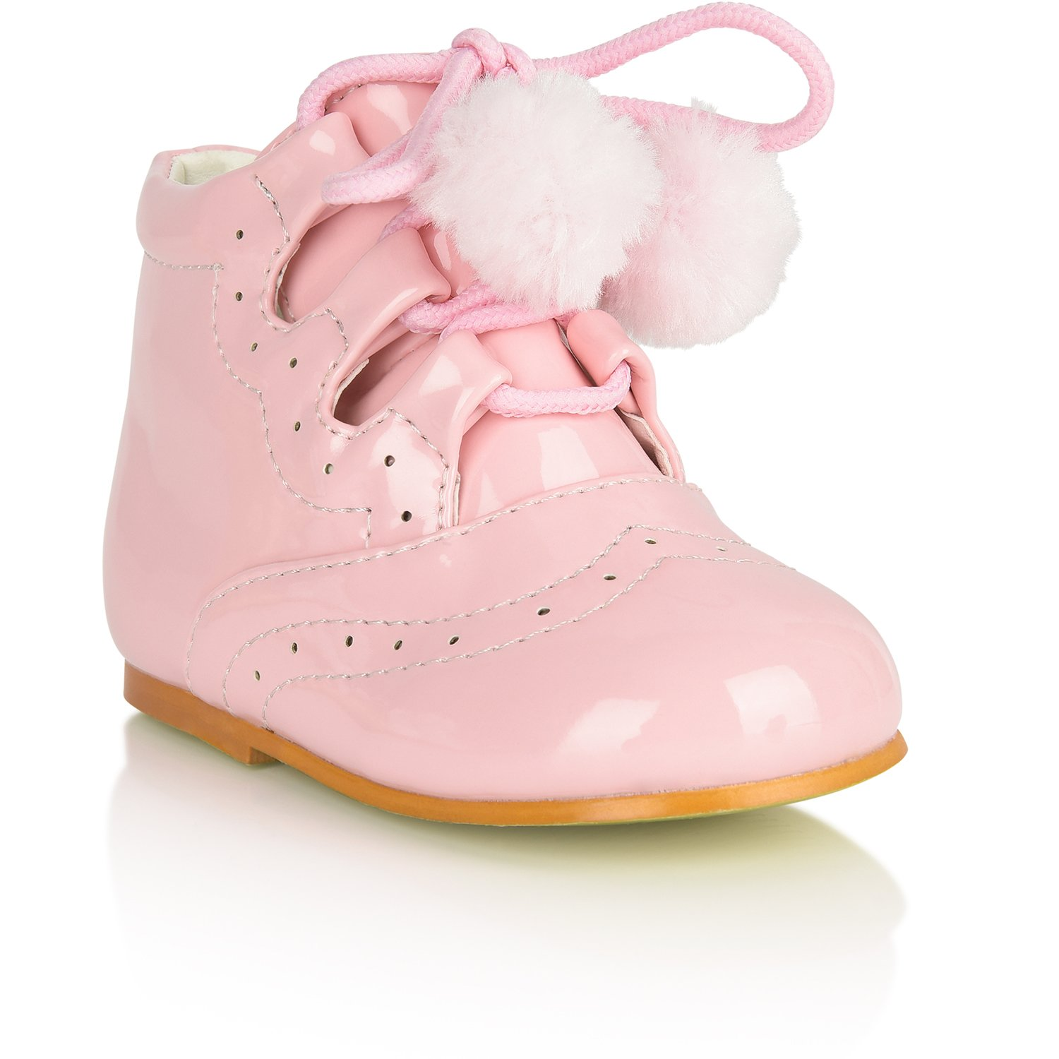 4083c0854 Tia Baby Infant Girls Spanish Pom Pom Boots Faux Patent Wedding Party Infant  Size UK 1-8 White Navy Blue Pink Red: Amazon.co.uk: Shoes & Bags