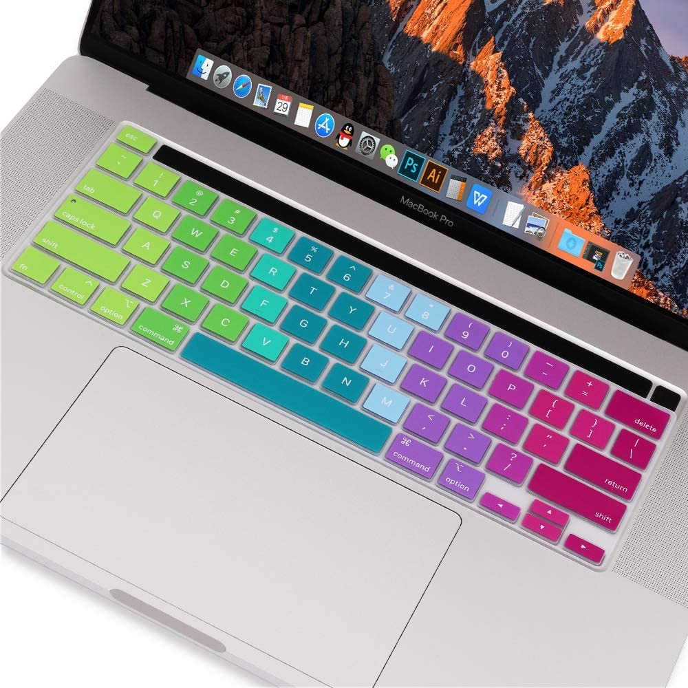 May Chen 2019 MacBook Pro 16 inch with Touch Bar and Touch ID Model A2141,Protector Silicone Keyboard Cover Skin for MacBook Pro 16 Retina Gradient Pink