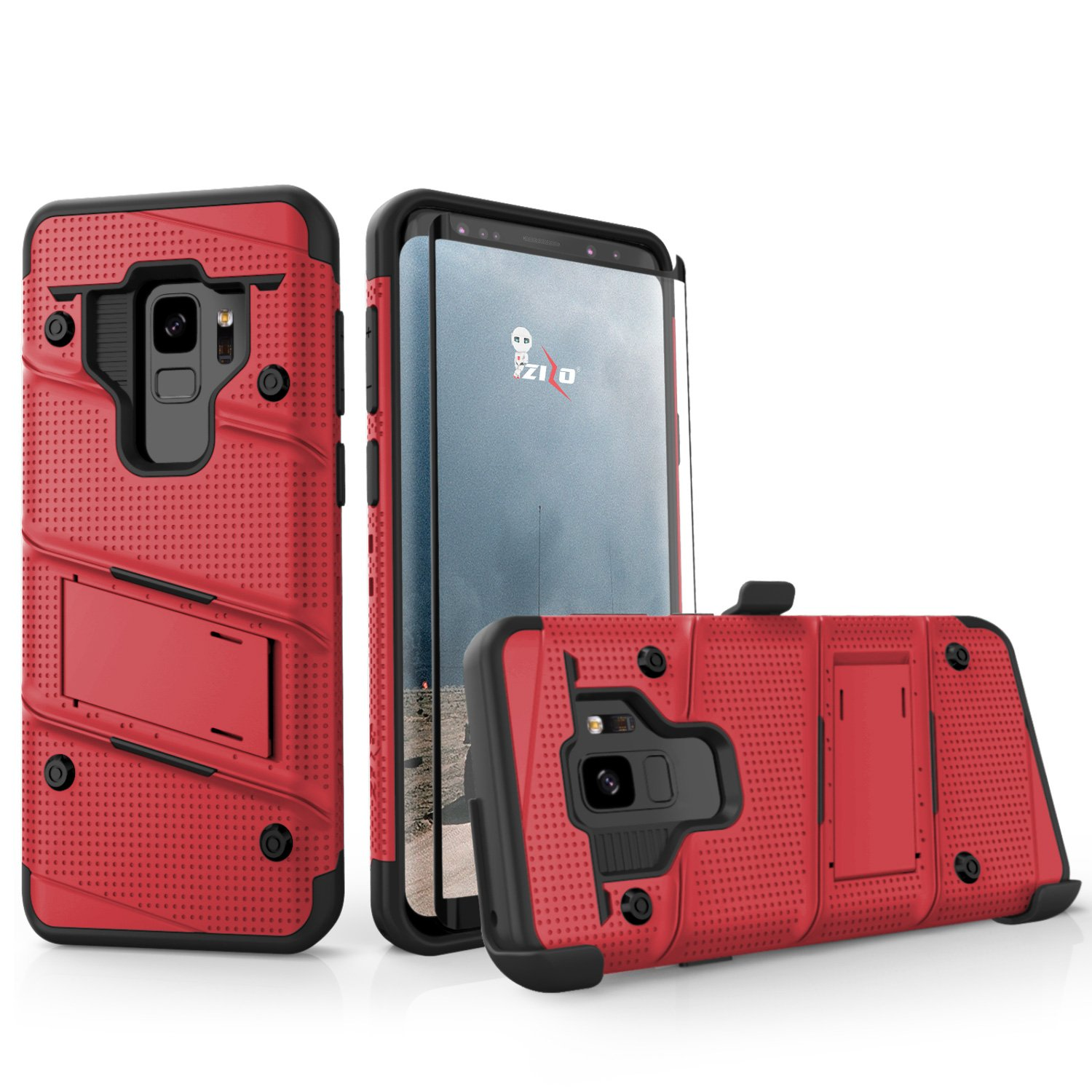 Zizo Bolt Series Compatible with Samsung Galaxy S9 Case Military Grade Drop Tested with Tempered Glass Screen Protector Holster Black RED