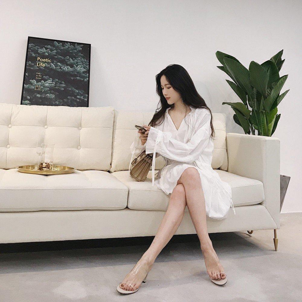 DIDIDD Einfaches Aussehen Lang Dünn Transparent Dick mit mit mit Hochhackigen Mulei Sandalen Hausschuhe,EIN,35 8a23bb