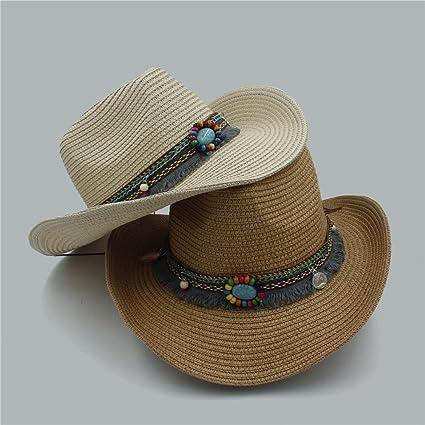 Amazon.com: XZP Handwork Summer Womens Mens Hollow Western Cowboy Hat For Gentleman Western Word Cowgirl Jazz Cap Summer Straw Beach Sun Hat (Color : 1, ...