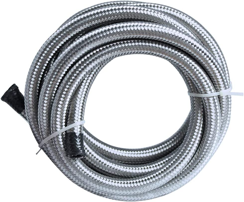 10Ft AN-6 Universal 3//8 Braided Stainless Steel Black Fuel Line Filler Feed Hose with 6pcs AN6 Hose Fitting Kit Red/&Black