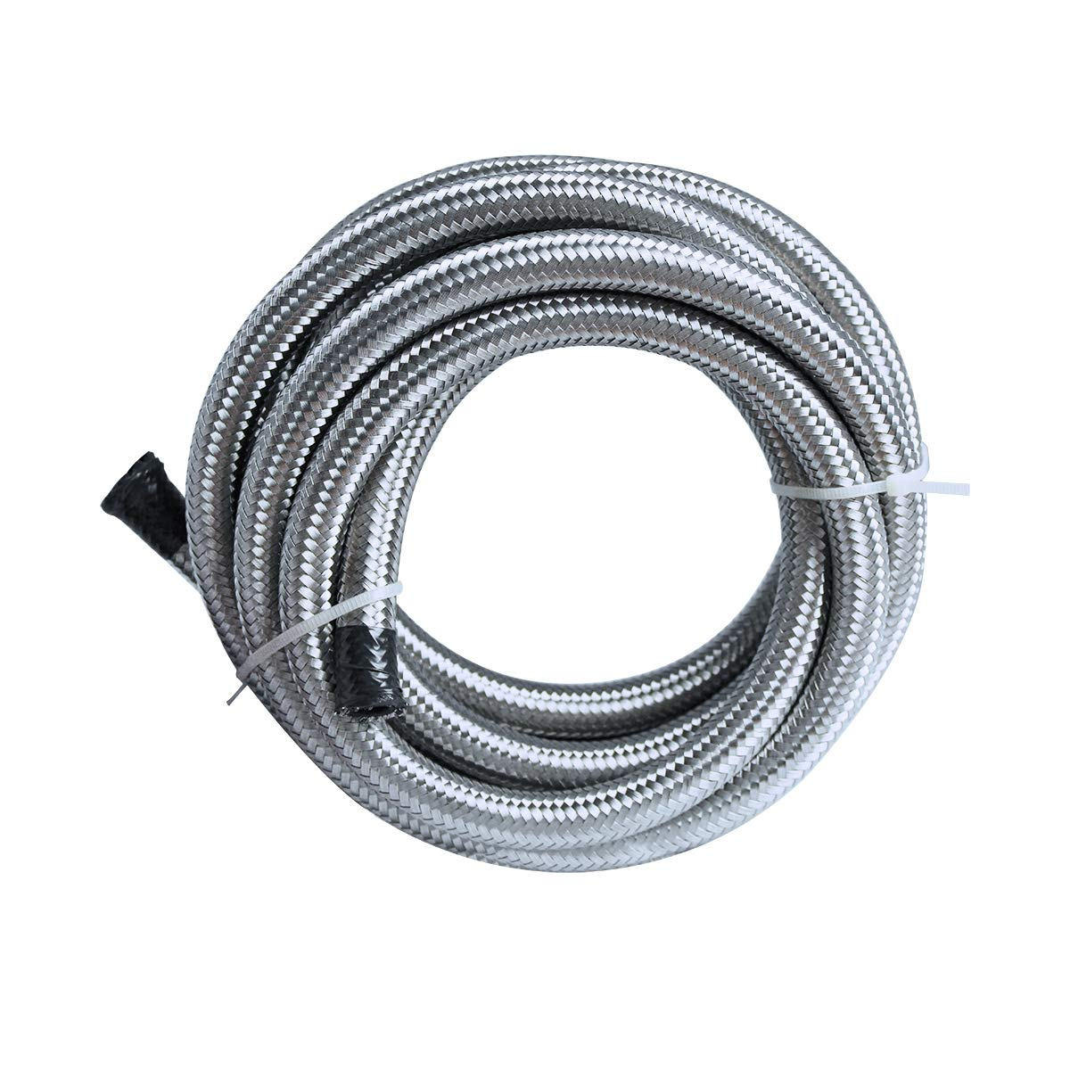 "10 Ft 6AN Fuel Hose AN6 3/8"" Universal Braided Stainless Steel CPE Oil Fuel Gas Line Hose 71FN9Vt3ntL"