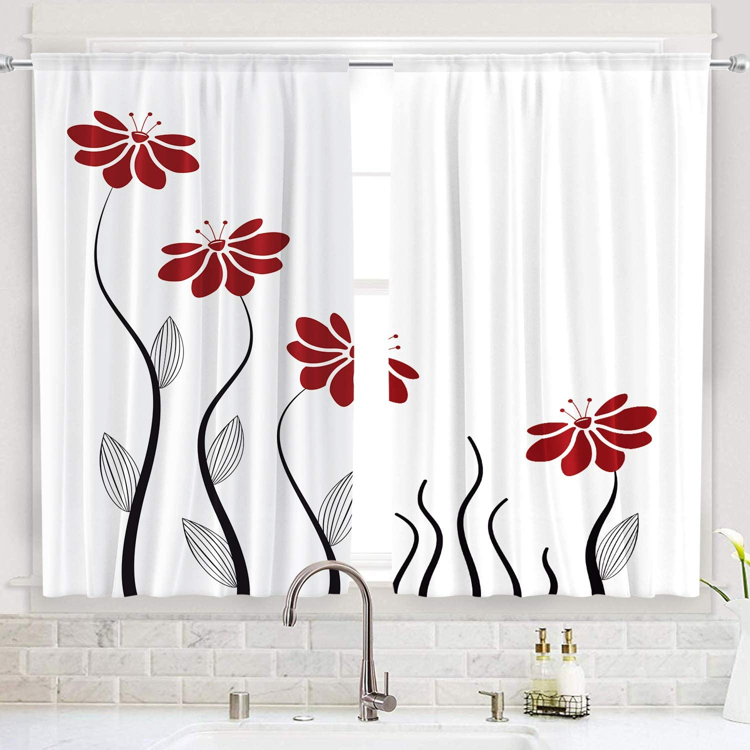 Riyidecor Red Flower Kitchen Curtains Floral Petals Rod Pocket Leaves Lines Geometrical Modern Woman Girl White Black Printed Living Room Bedroom Window Drapes Treatment Fabric 2 Panels 55 X 39 Inch Amazon Co Uk