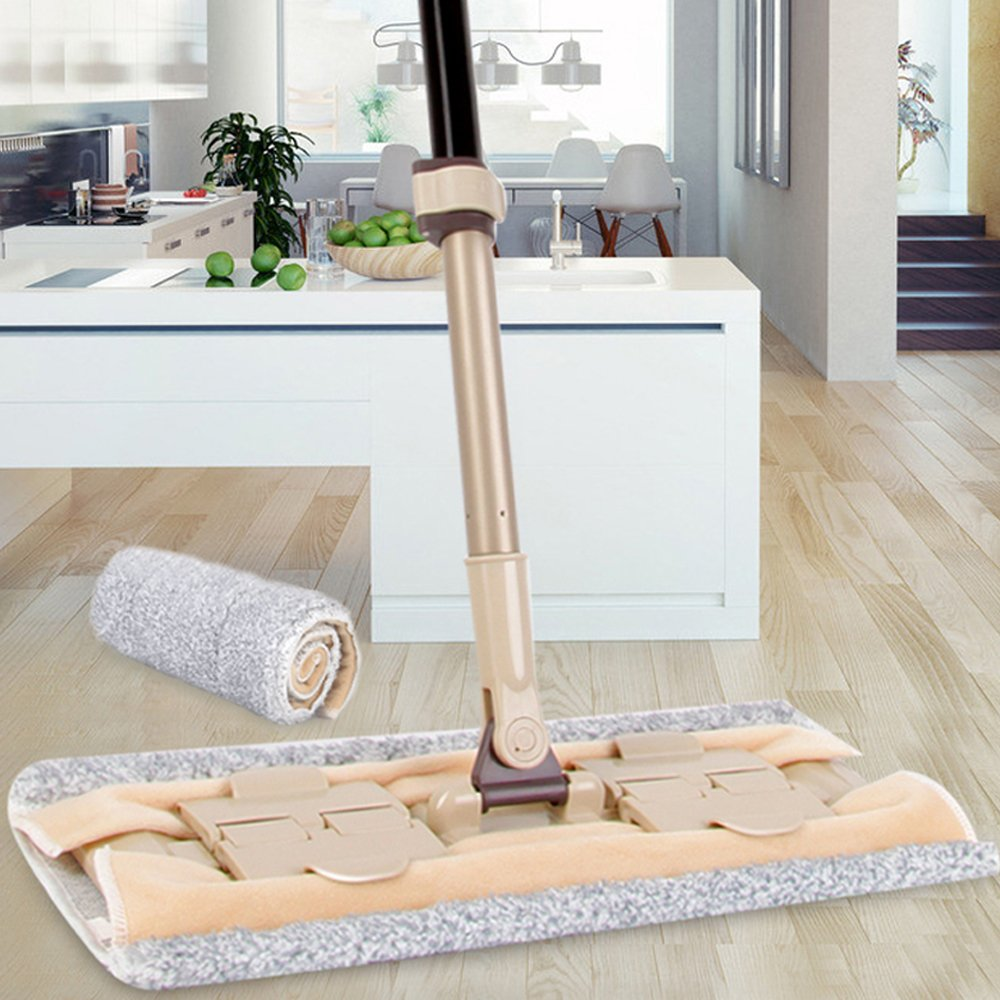 "Elvoes Microfiber Flat Mop Professional 360 Degree Hardwood Floor Mop with 50""- 70"" Adjustable Handle, Wet/Dry Mop with Scraper for Bathroom, Kitchen, Tile and Hardwood Floor Cleaning"