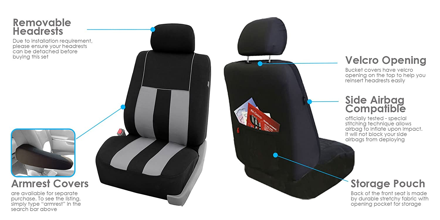SUV or Van Truck Airbag Compatible Gray//Black- Fit Most Car FB050102 Pair Set of Universal Front Seat Covers