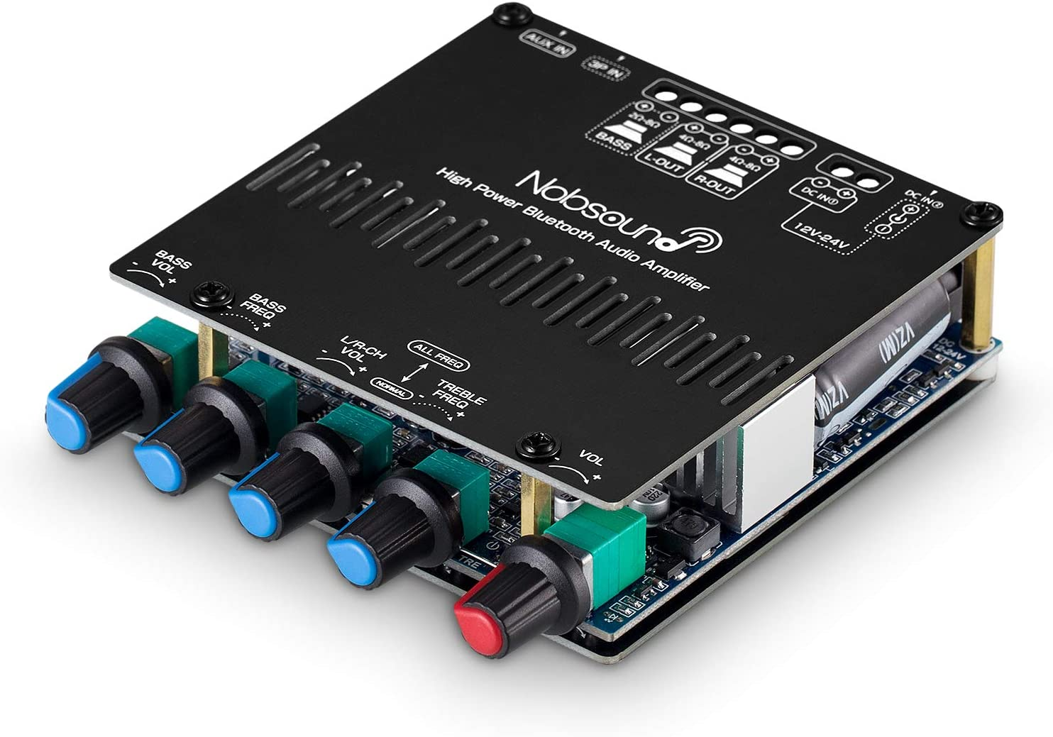 Nobsound HiFi 2.1 Channel Bluetooth 5.0 Power Amplifier Board Case Stereo Subwoofer Amp