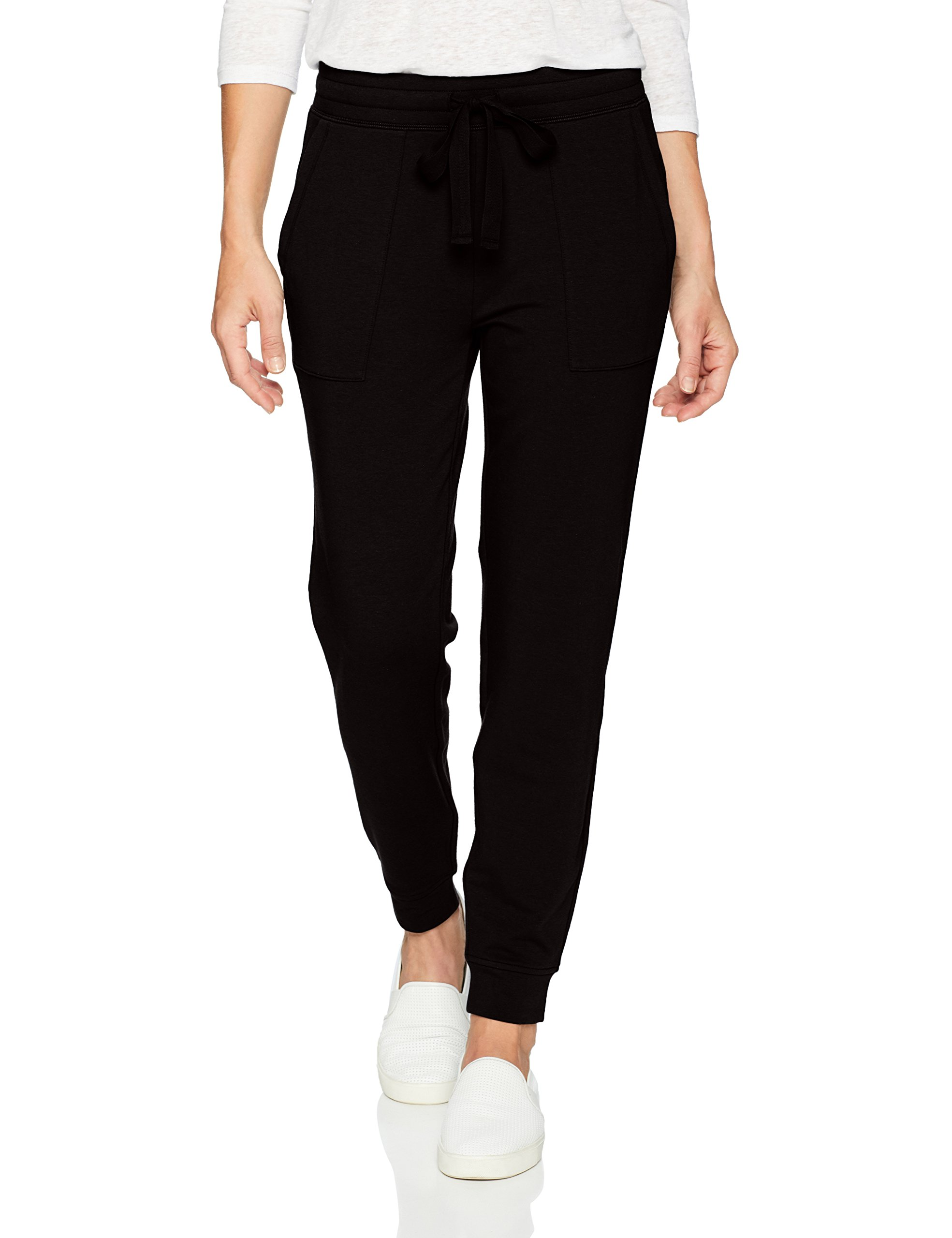 Daily Ritual Women's Terry Cotton and Modal Patch-Pocket Jogger Pant, Black, X-Large