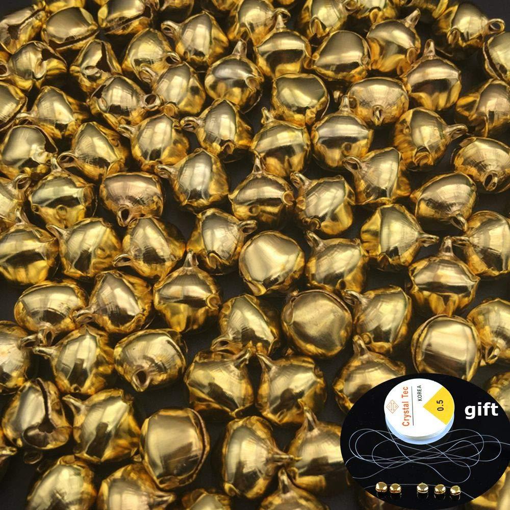 NUOMAN 300 Pi/èces Petites Clochettes 10mm Grelots en M/étal avec Ligne /Élastique de 14m Jingle Bells pour No/ël D/écoration