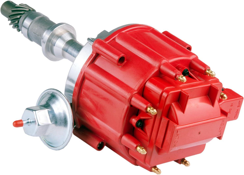 Brand New Compatible Ignition Distributor w/Cap & Rotor 1040011 65K Coil Small Block for Pontiac 301ci 326ci 350ci 389ci 400ci 421ci 428ci 455ci V8 HEI One Wire Installation Red Cap