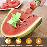 GOOSEBERRY Amazing Watermelon Fruit Dig Corer Cutter & Server Fruit Dividers Windmill Slicer Stainless Steel Cutter Fruit Tongs Melon Cumber Fun Kitchen Gadgets.