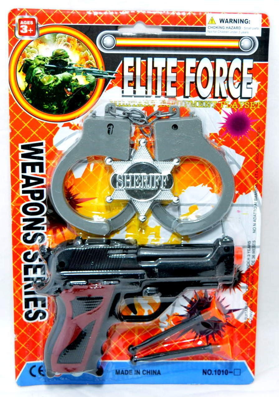Polizei Set Dart Pistole Handschellen Sheriffstern Pfeilpistole Pfeil LG Import