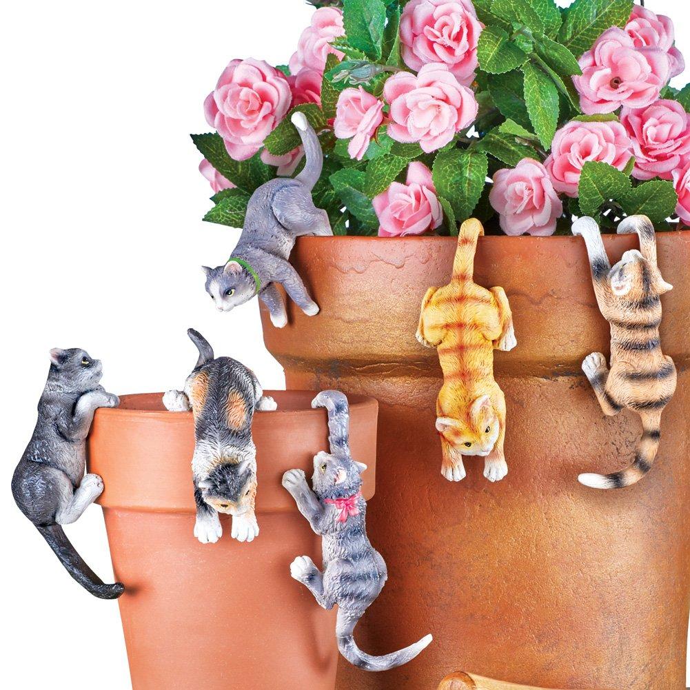 Cute Kitten Planter Pot Hanger Decorations, Set of 6 – Makes a Great Garden Gift for Cat Lovers