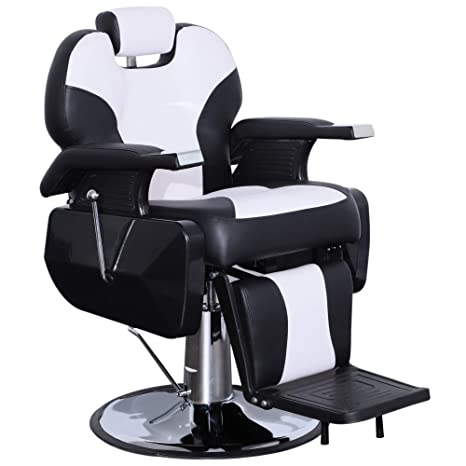 Pleasing Exacme Hydraulic Recline Barber Chair Salon Beauty Spa Shampoo Chair Black White Creme 8702Bw Pabps2019 Chair Design Images Pabps2019Com