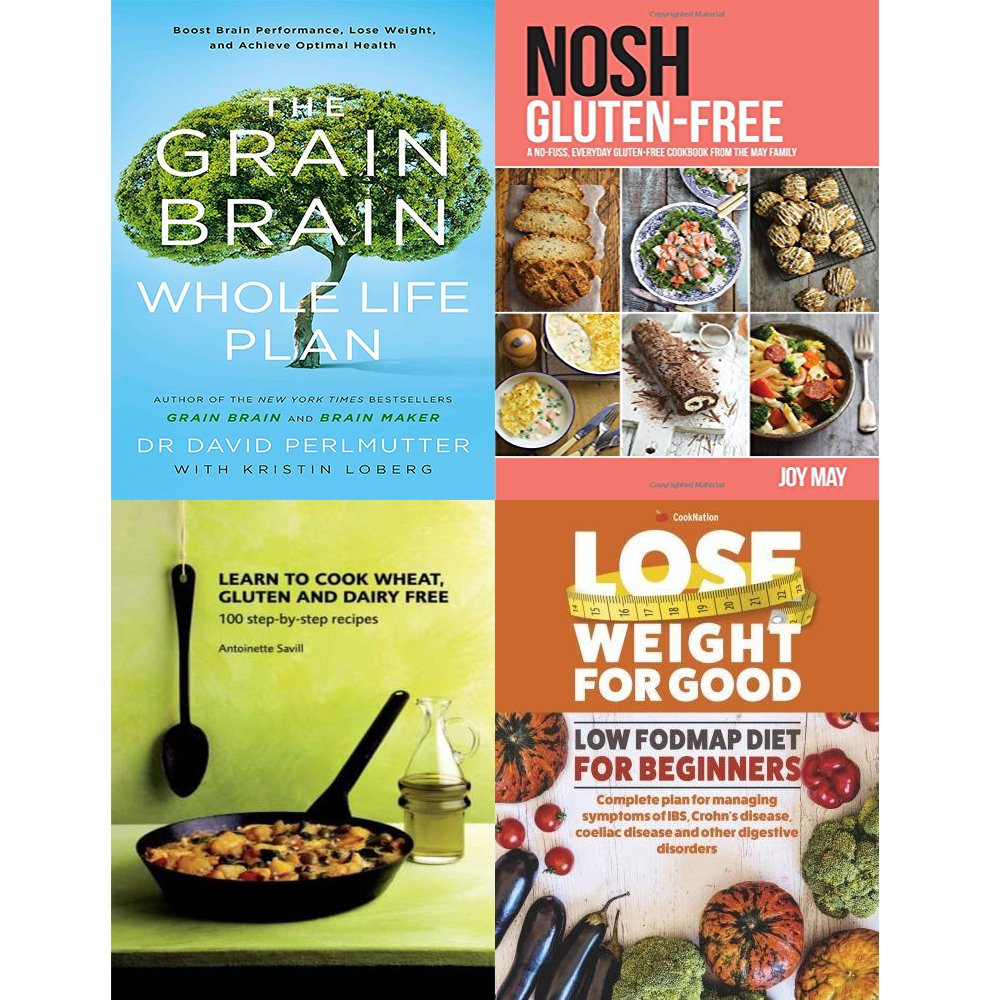 grain brain whole life plan, nosh gluten-free, learn to cook wheat, gluten and dairy free and lose weight for good low fodmap diet 4 books collection set by Yellow Kite/inTRADE(GB) Ltd/Grub Street/Bell & Mackenzie Publishing