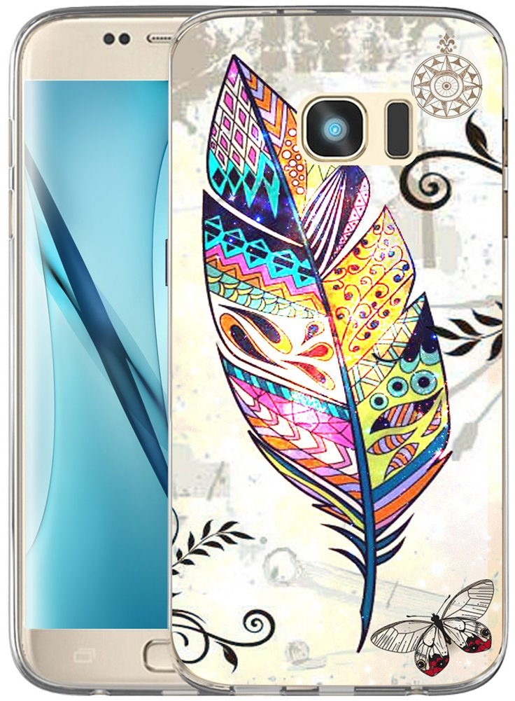 S7 Edge Case Design / IWONE Designer TPU Non Slip Rubber Durable Compatible Protective Skin Transparent Cover Shockproof Replacement For Samsung Galaxy S7 Edge + Colorful Creative Ethnic Pattern