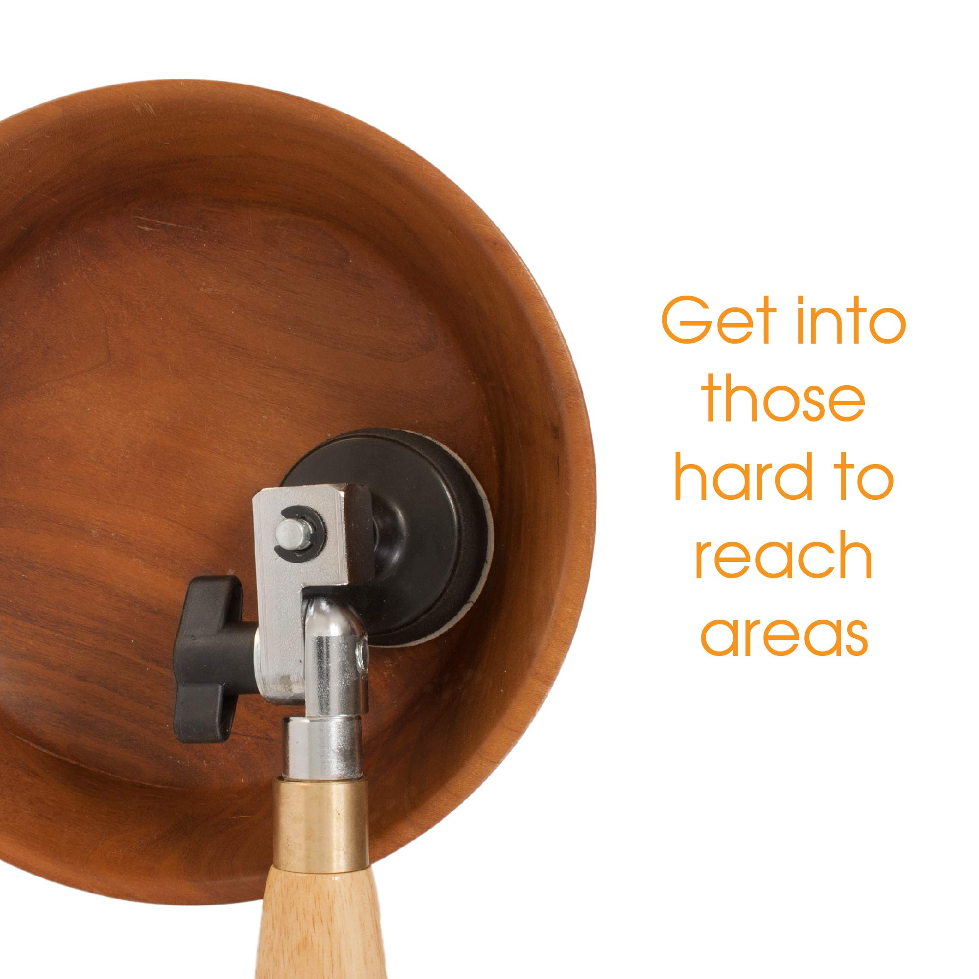 2'' Diameter Bowl Sander with Foam Hook & Loop Pad and 9'' Long Hardwood Handle, Ideal for Wood Turners for Bowls, Large Goblets, Platters, Some Spindles and Concave Shapes by Peachtree Woodworking Supply (Image #3)