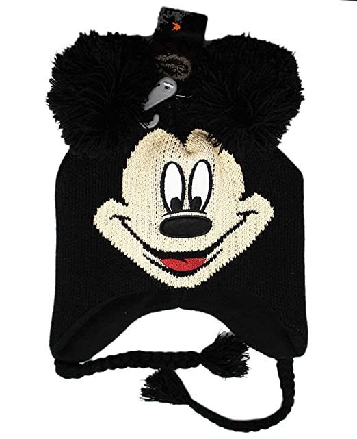 23d248ab6 Disney Mickey Mouse Character Adult Black Winter Knit with Poms Laplander  Hat