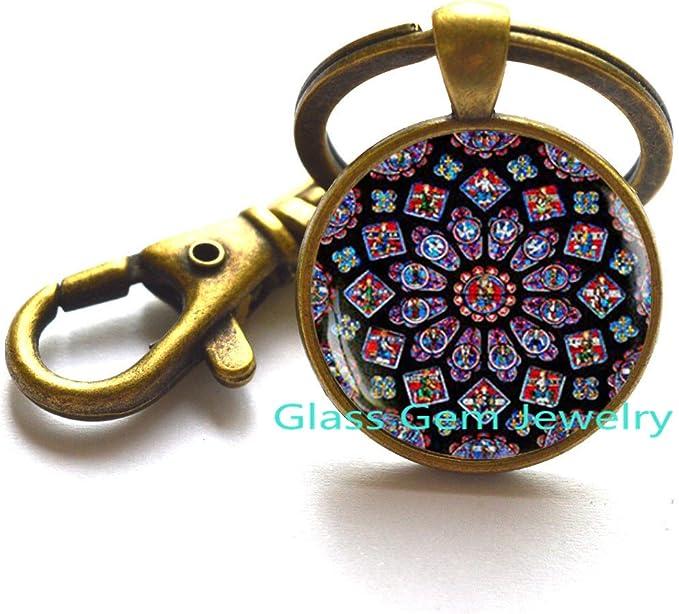 Notre Dame Rose Window Art Key Ring Catholic Jewelry,M370 Stained Glass Window Key Ring Keychain,Rose Window Art Nouveau Keychain