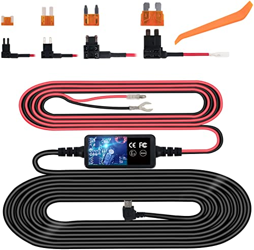 Dash Cam Hardwire Kit, Mini USB Hard Wire Kit Fuse for Dashcam, Plozoe 12V-30V to 5V Car Dash Camera Charger Power Cord, Gift 4 Fuse Tap Cable and Installation Tool 11.5ft