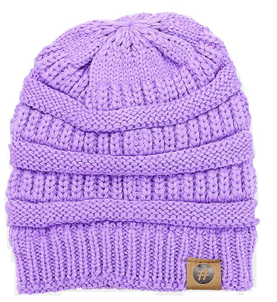 WT001 Solid Knitted Hashtag Beanie in Mauve