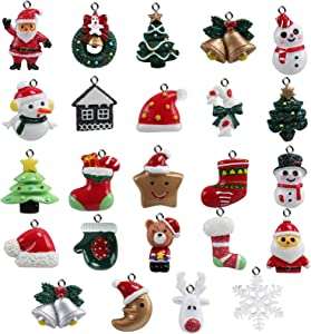 Naler 24 Colgantes Navideños Decoración de Árboles de Navidad Adornos de Navidad de Resina para Calendario de Adviento Manualidades