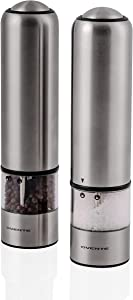 Ovente Electric Stainless Steel Tall Sea Salt and Pepper Grinder Set with Ceramic Blade, Battery Operated Adjustable Coarseness Salt & Pepper Mill Automatic One Handed Touch, Pack of 2 Silver SPD112S