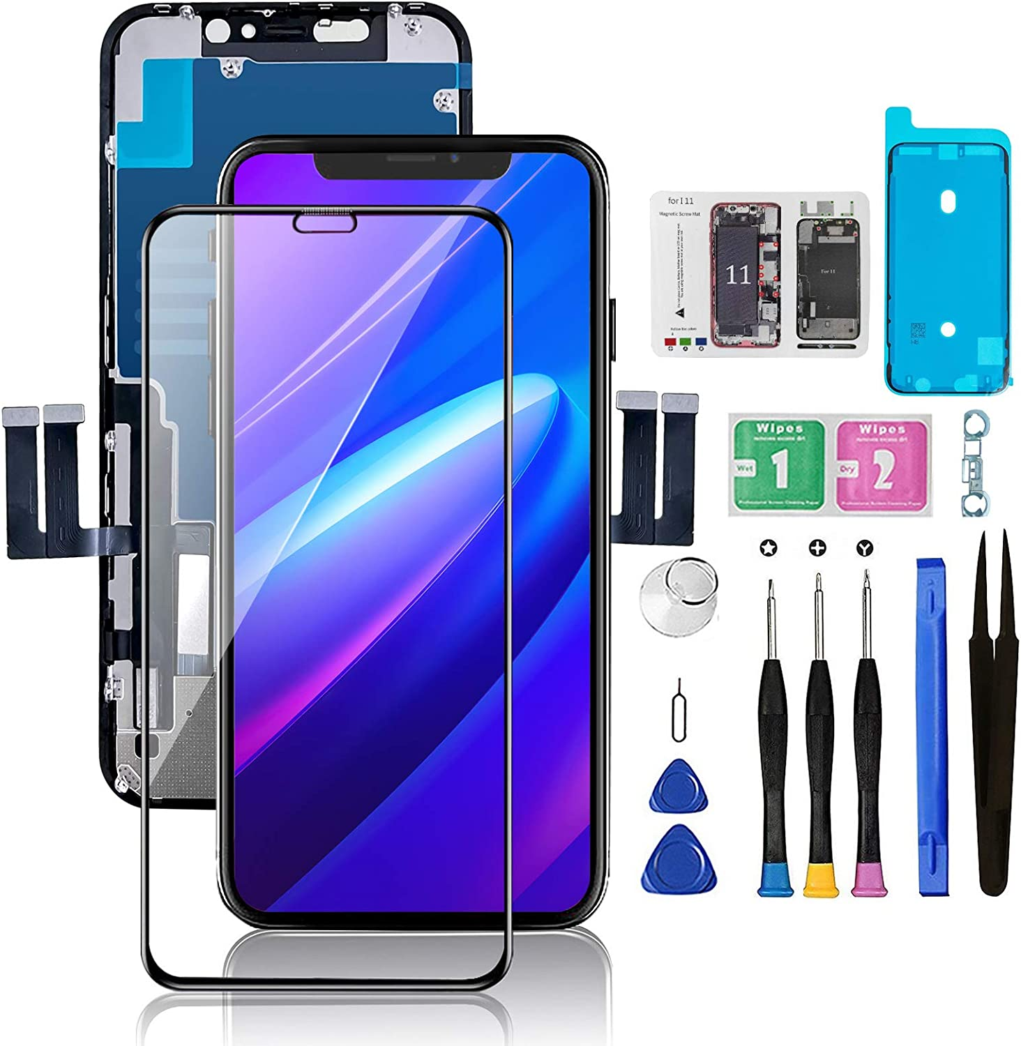 """for iPhone 11 Screen Replacement 6.1"""", Bsz4uov 3D Touch Screen LCD Display Digitizer for A2111, A2223, A2221 Cell Phone Repair Kits+ Waterproof Frame Adhesive Sticker+Screen Tempered Protector+Face ID"""