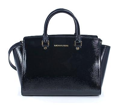 Michael Kors Selma Large Top Zip Satchel Patent Leather - Black ...