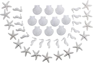 LJY 40 Pieces 3cm White Resin Pencil Finger Starfish Seahorse & Seashells Set for Wedding Home Decor and Craft Project