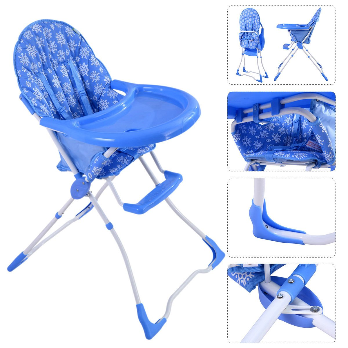 K&A Company Adjustable Baby Toddler Feeding Booster Chair Seat High Folding Infant Portable Highchair in Blue