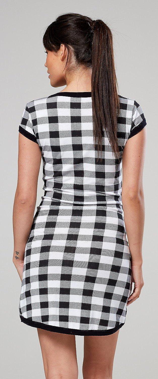 Damen Umstands Still-Nachthemd Kontrastdetails Knopfleiste Zeta Ville 981c