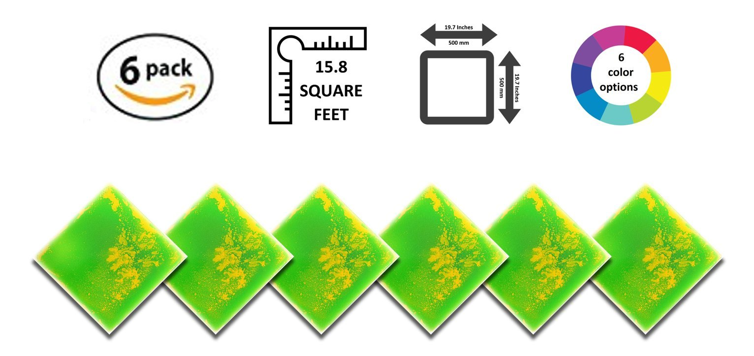 Liquid Floor Tile Playroom / Dance Floor / Sensory Room Tile (Green / Yellow) 6 Pack