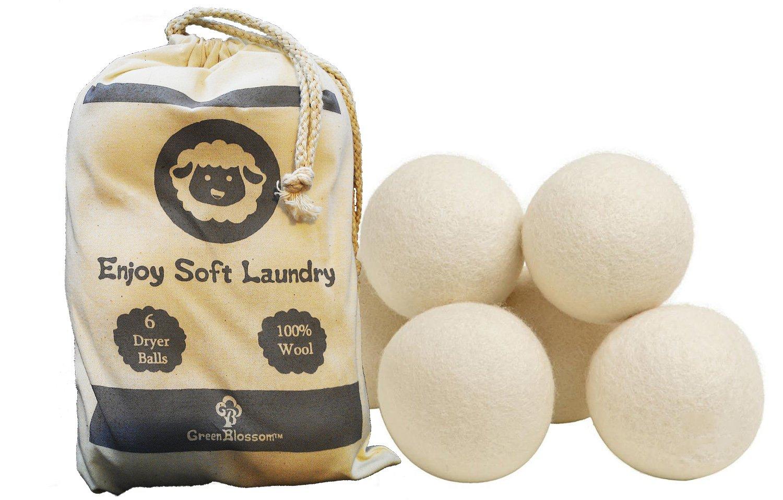Green Blossom 100% Organic Wool Dryer Balls, Reusable Natural Fabric Softener - 6-Pack
