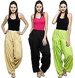 Pistaa Combo of 3 Womens Solid Cotton Mix Best Ethnic Punjabi Patiala Salwar