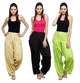 Pistaa Combo of 3 Womens Solid Cotton Mix Best Ethnic Punjabi Patiala Salwar Women's Churidar & Salwar Bottoms at amazon