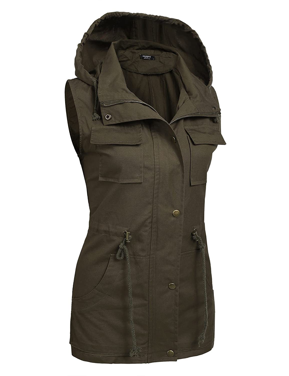 efd9db9636326 Zeagoo Womens Lightweight Sleeveless Military Anorak Vest