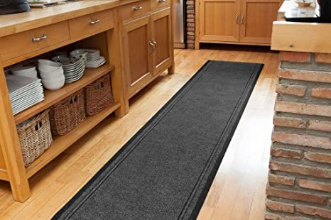 Amazon Com The Rug House Plain Grey Rubber Backed Very Long Hallway