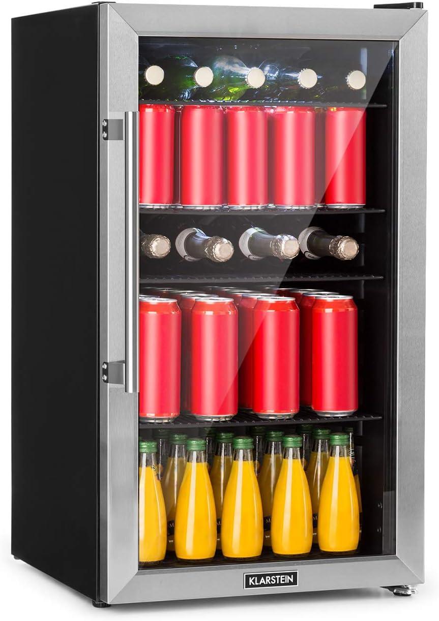 Klarstein Beersafe 3XL nevera - Nevera para bebidas, 98 litros, Eficiencia energética A+, 83 cm de altura, 4 baldas, Temperatura de 0 a 10 °C, Puerta acristalada, Aislada, Acero inoxidable