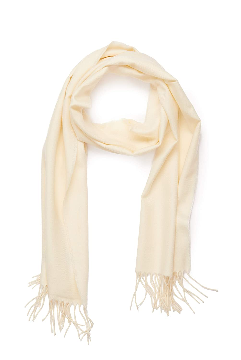 Cream INVERNO Super Soft Luxurious Cashmere Feel Warm Winter Solid Plain color Unisex Scarf