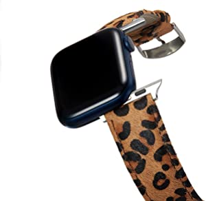GussyUp Genuine Leather Band Compatible Apple Watch SE Series 38mm/40mm/42mm/44mm Wristband Replacement Bands, Gold Buckle, Women iWatch Straps Series SE/6/5/4/3/2/1 (Brown Leopard, 42mm & 44mm)