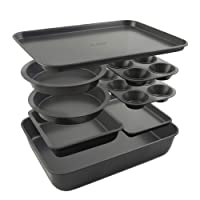 Elbee Home 8-Piece Stack 'n' Store Baking Set, Patented Space Saving Self Storage Design, Nonstick Carbon Steel
