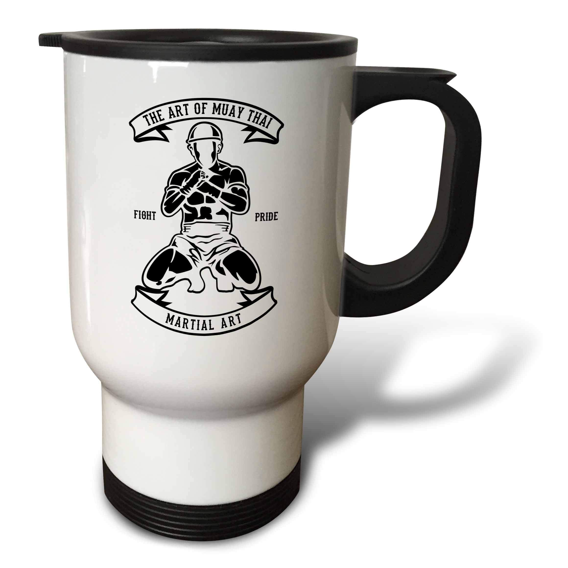 3dRose Alexis Design - Vintage - Image of martial arts fighter. The art of muay thai. Fight pride - 14oz Stainless Steel Travel Mug (tm_292303_1) by 3dRose