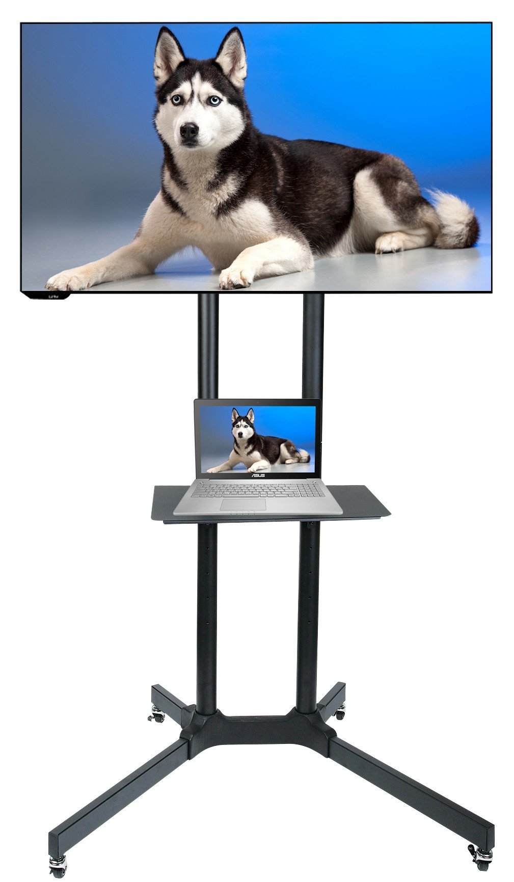 Husky Mount Mobile TV Stand with Wheels Heavy Duty Universal Rolling TV Cart Fits Most 32'' - 70'' LED LCD TVs with Shelf and Mount Max Load 132 LBS Load Capacity TV Trolley by Husky Mounts