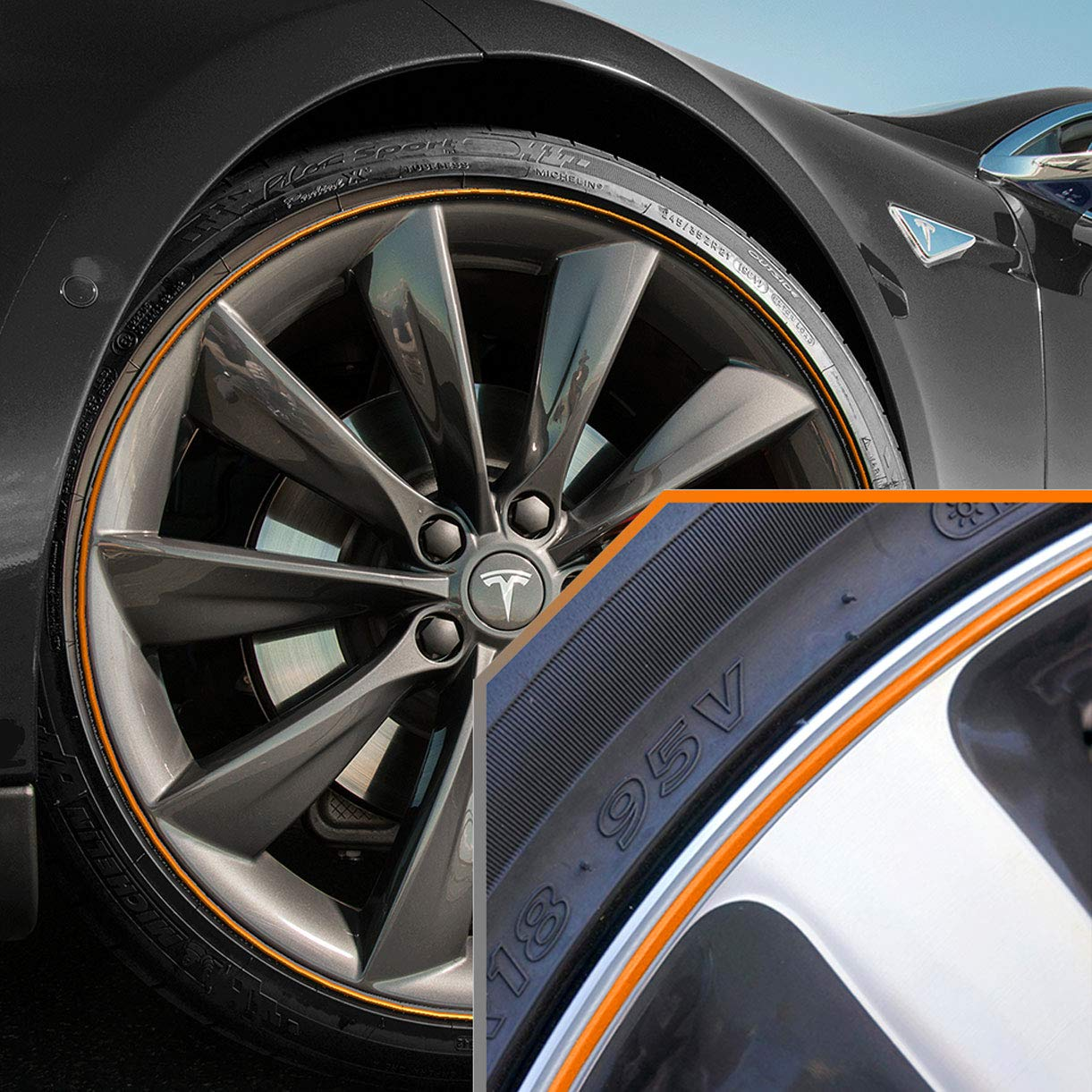 Upgrade Your Auto Wheel Bands Orange in Silver Pinstripe Rim Edge Trim for Tesla (Full Kit) by Upgrade Your Auto