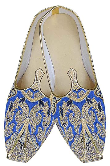 Mens Blue Indian Wedding Shoes Special Design MJ0144