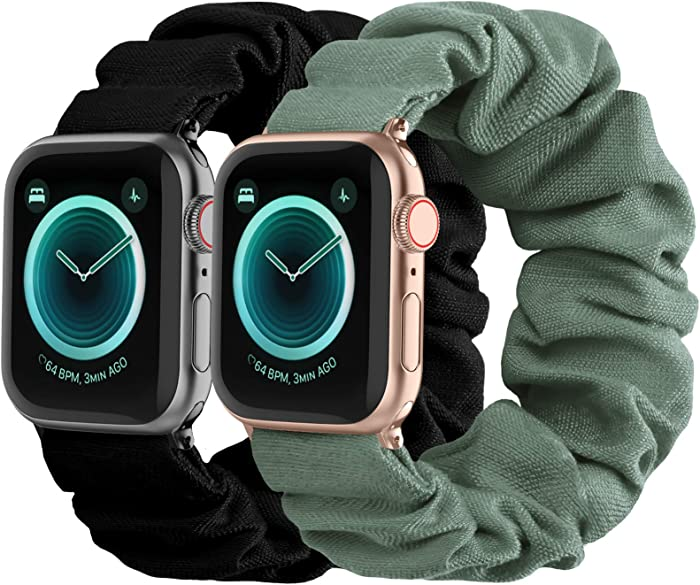 Compatible with Scrunchies Apple Watch Bands 38mm 40mm, Women Cloth Pattern Printed Fabric Wristbands Straps Elastic Scrunchy Band for iWatch Series 6 5 4 3 2 1 SE (Small Black, Green)